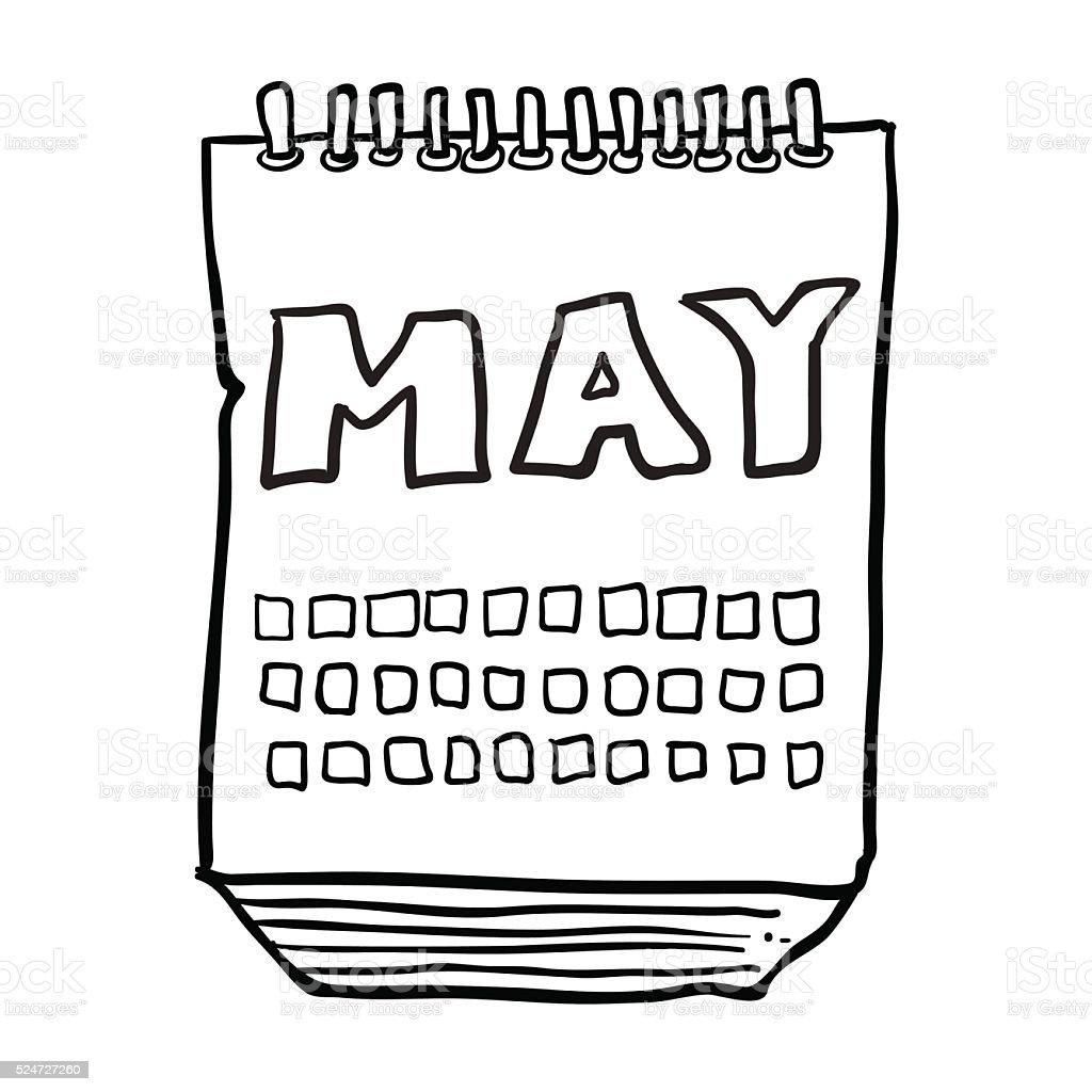 Desenhos Animados A Preto E Branco De Calendario Mostrando Mes