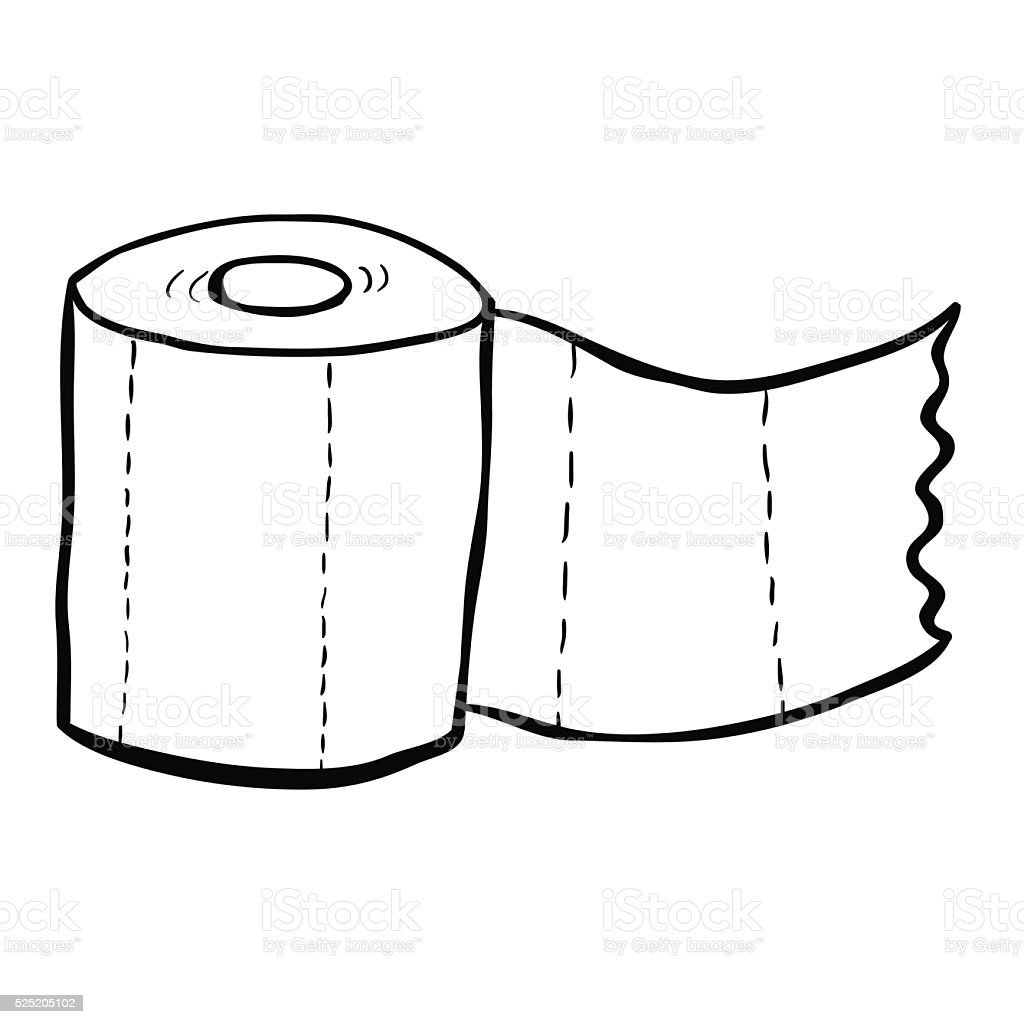 Black And White Freehand Drawn Cartoon Toilet Paper Royalty Free Stock Vector Art