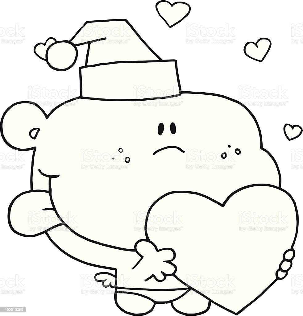 Black and White Friendly Cupid Holding A Heart royalty-free stock vector art