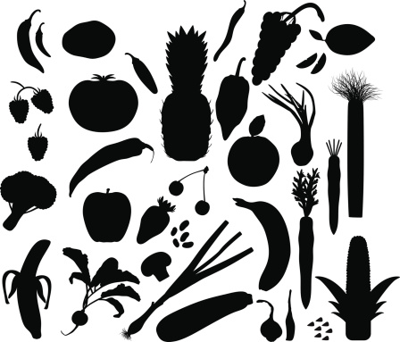 Food and drink silhouette stock illustrations