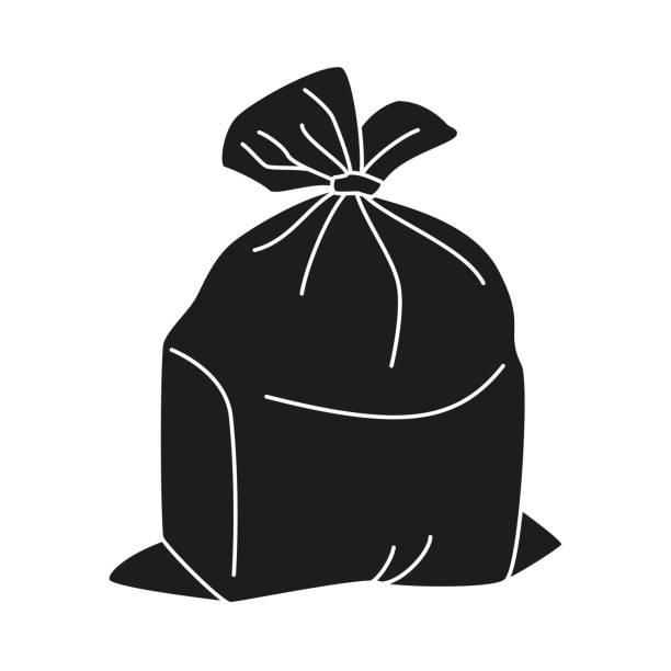 Black and white full trash bag silhouette vector art illustration