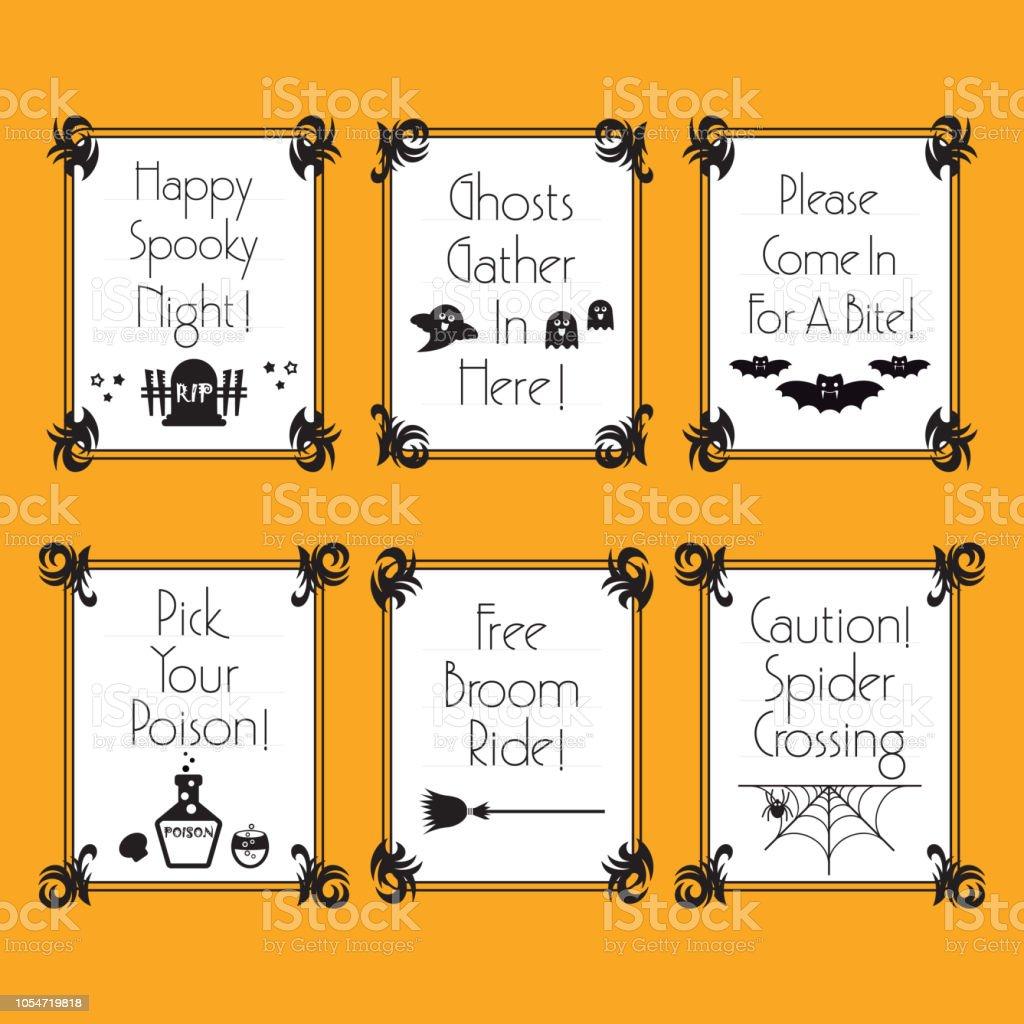 Ilustración De Blanco Y Negro Banners De Frases Halloween