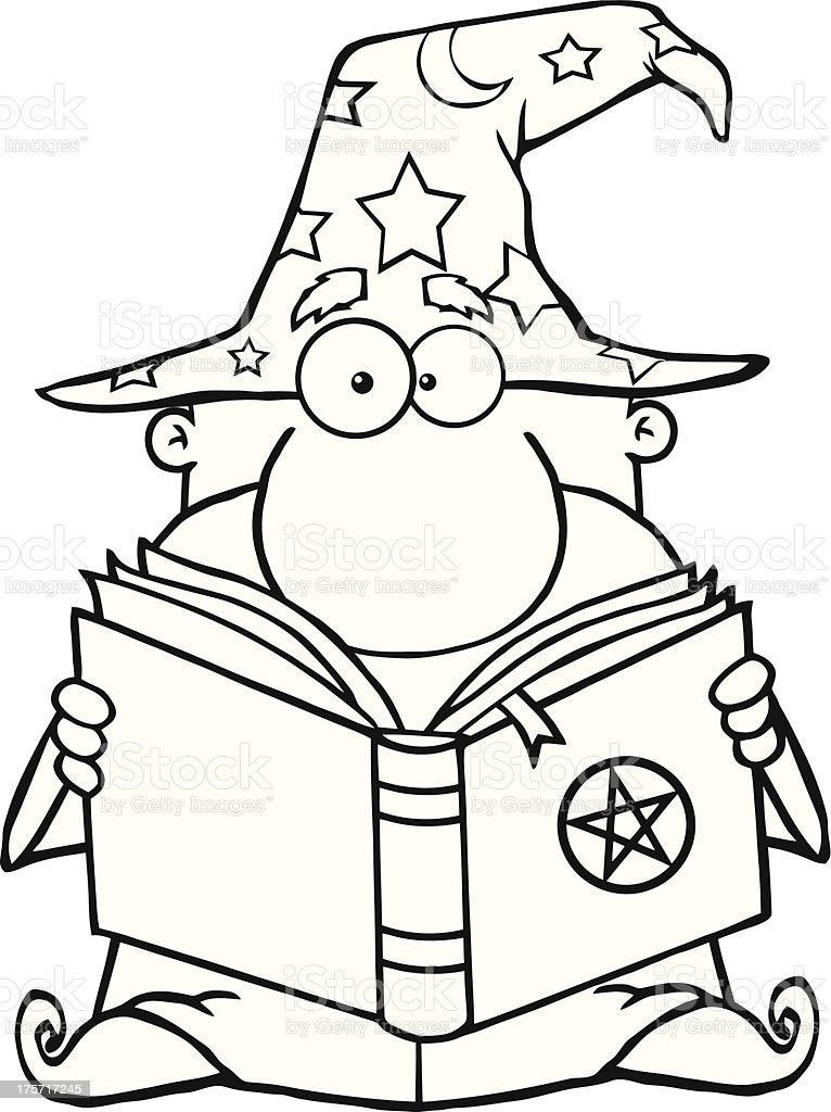 black and white funny wizard holding a magic book stock