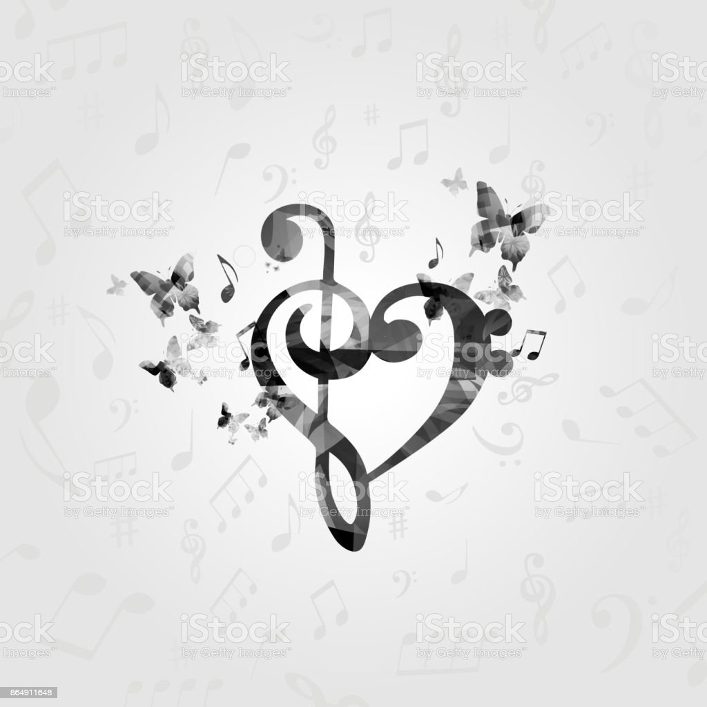 Ilustración De Corazón Gclef Blanco Y Negro Con Notas Musicales Y