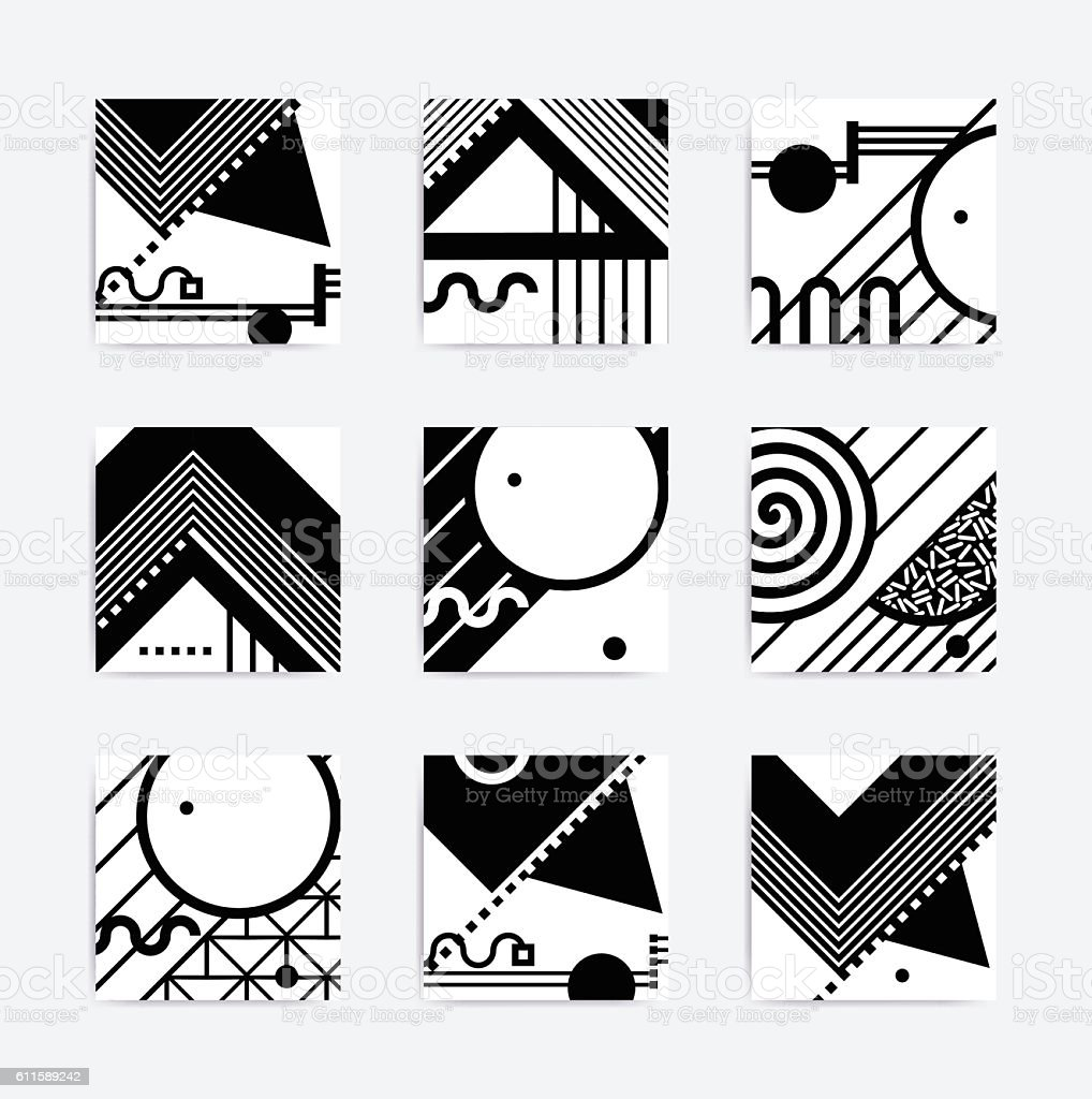 Black And White Geometric Design Stock Vector Art  for Geometric Shapes Design Black And White  300lyp