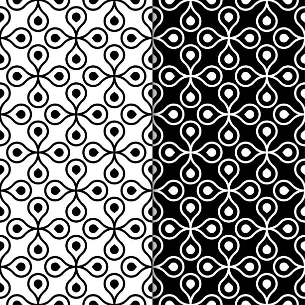Bекторная иллюстрация Black and white geometric ornaments. Set of seamless patterns