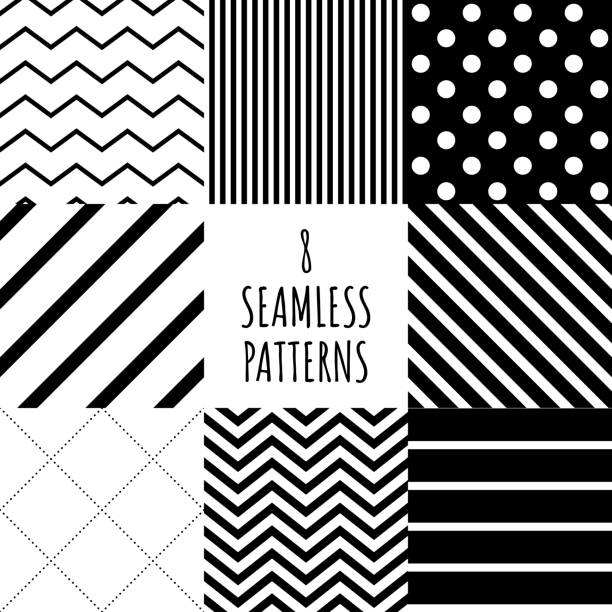 8 black and white geometric pattern set simple ornate color monochrome , geometry seamless repeatable tile for textile texture or wrapping paper . vector illustration 8 black and white geometric pattern set simple ornate color monochrome , geometry seamless repeatable tile for textile texture or wrapping paper . vector illustration fabric swatch stock illustrations