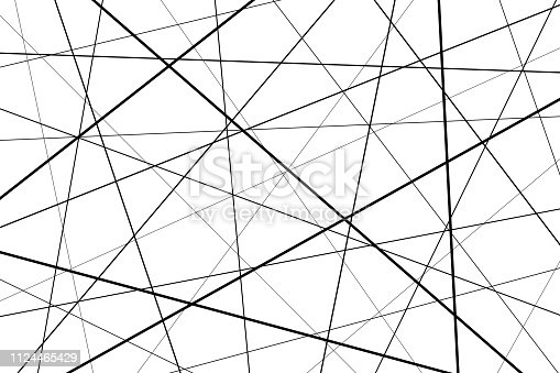 Random chaotic lines abstract geometric pattern, Black and white geometric pattern
