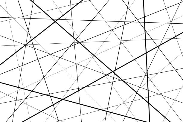 Black and white geometric pattern Random chaotic lines abstract geometric pattern, Black and white geometric pattern crisscross stock illustrations