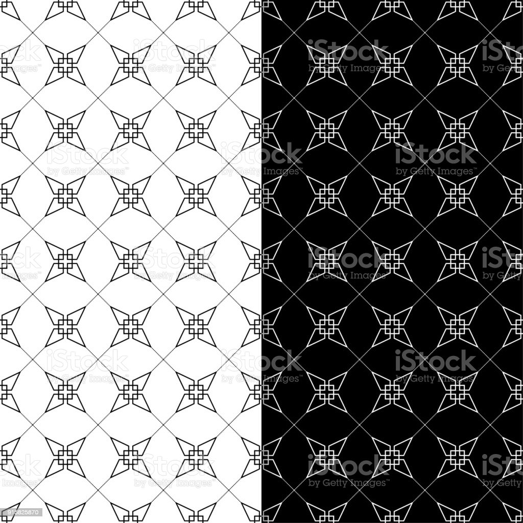 Black And White Geometric Prints Set Of Seamless Patterns Stock