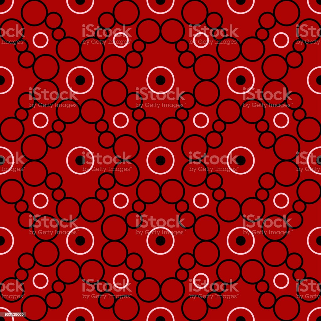 Black and white geometric seamless pattern. On red background - arte vettoriale royalty-free di Astratto