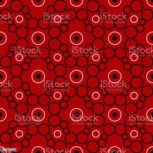 Svart Och Vitt Geometriska Sömlösa Mönster På Röd Bakgrund-vektorgrafik och fler bilder på Abstrakt