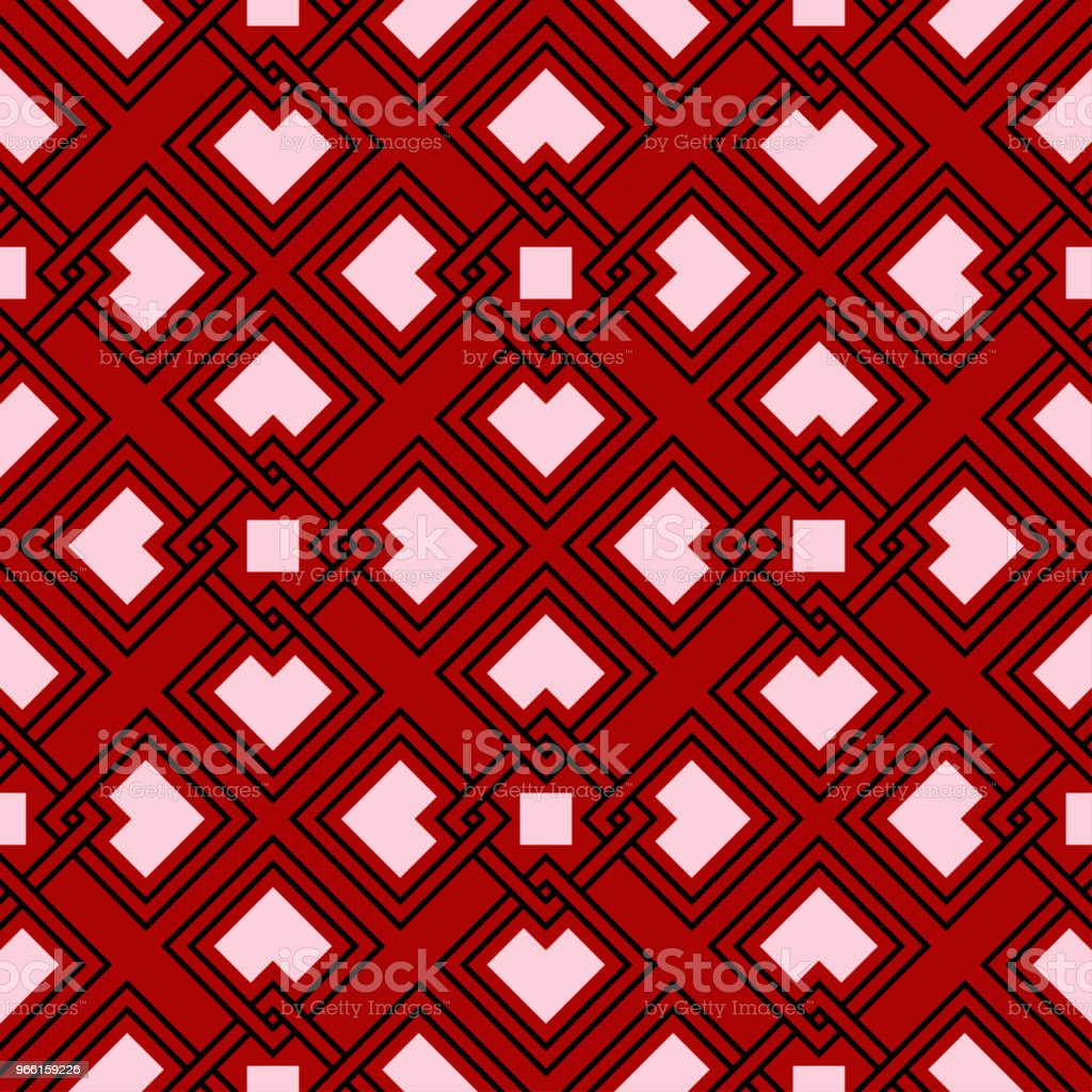 Black and white geometric seamless pattern. On red background - Royalty-free Abstract stock vector