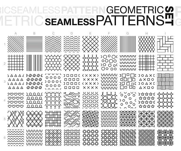 Black and white geometric seamless patterns set vector art illustration
