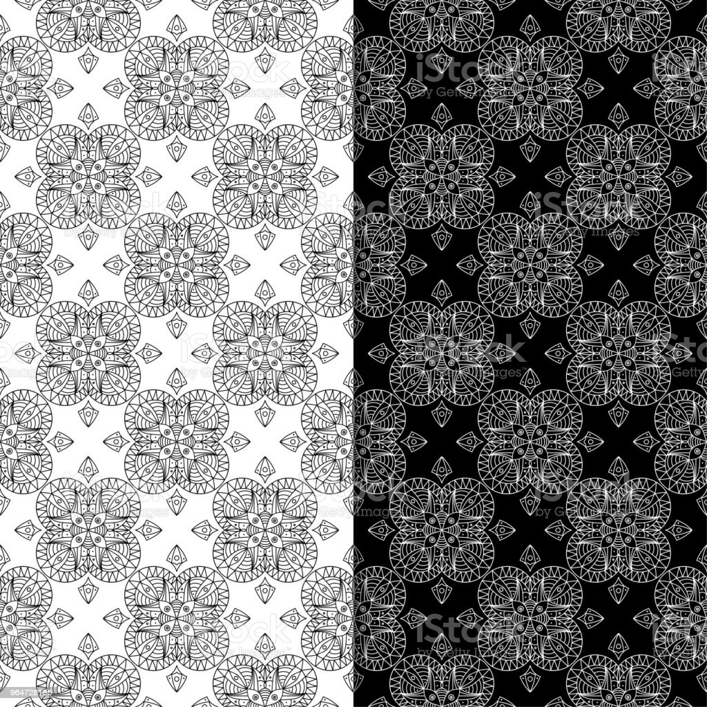Black and white geometric set of seamless patterns royalty-free black and white geometric set of seamless patterns stock illustration - download image now