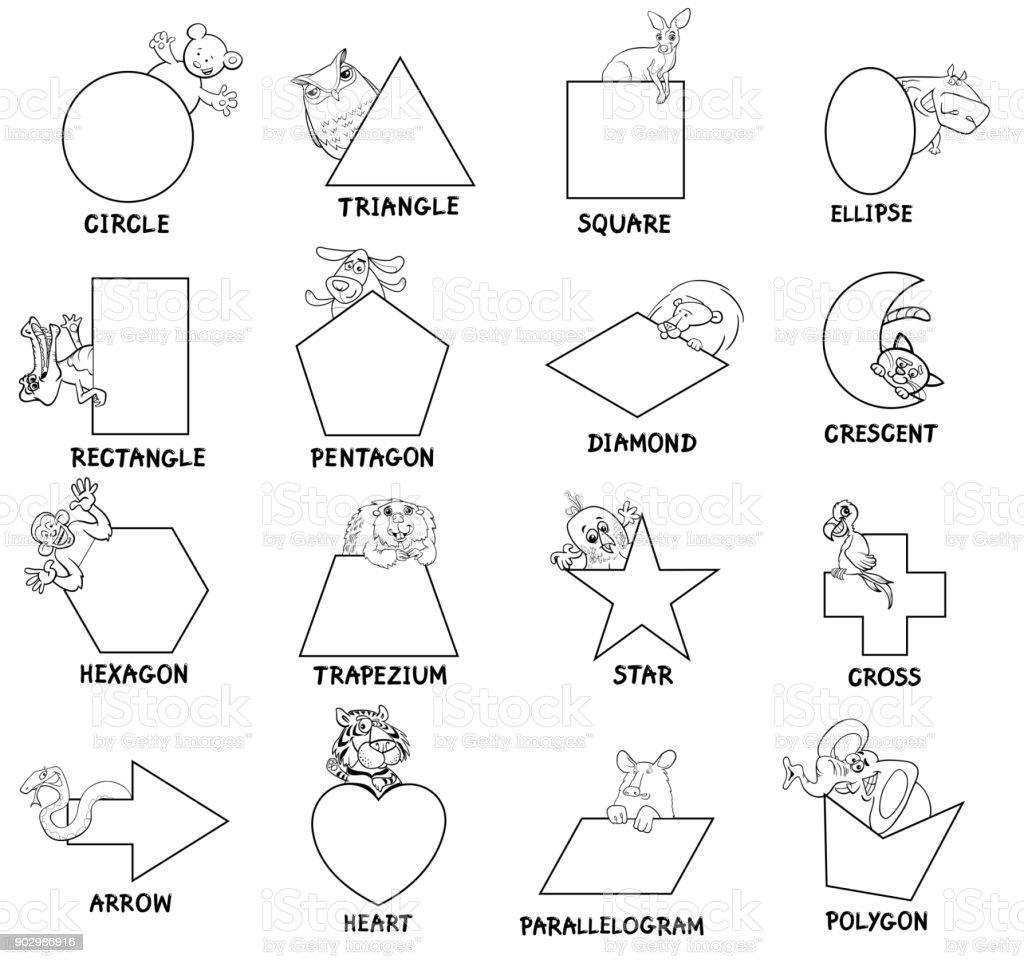 Ilustración de Blanco Y Negro Formas Geométricas Con Los Animales y ...