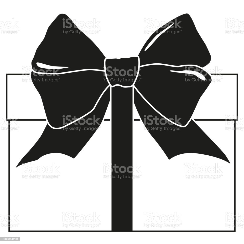 Black and white gift box silhouette - Royalty-free 2019 stock vector