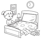 istock Black And White, Girl making bed 1258603201