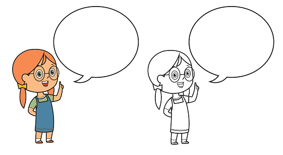 Black And White, Girl with speech balloon