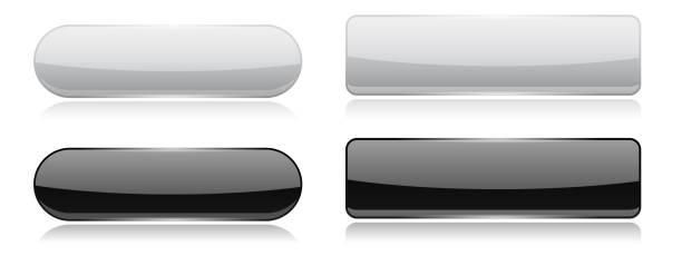 黑白玻璃按鈕。橢圓形和長方形3d 閃亮的圖示向量藝術插圖