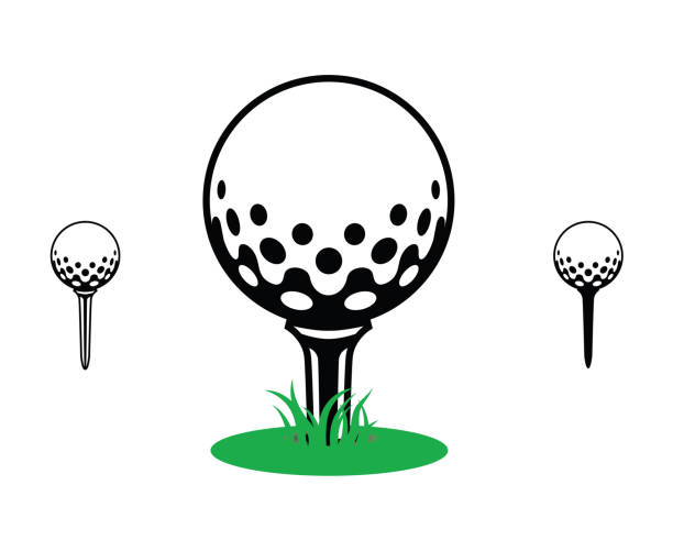 black and white golf ball on a tee with green grass. icon, symbol, sport, golfball on a Tee graphic, icon, logo, symbol, grass, golf ball stock illustrations