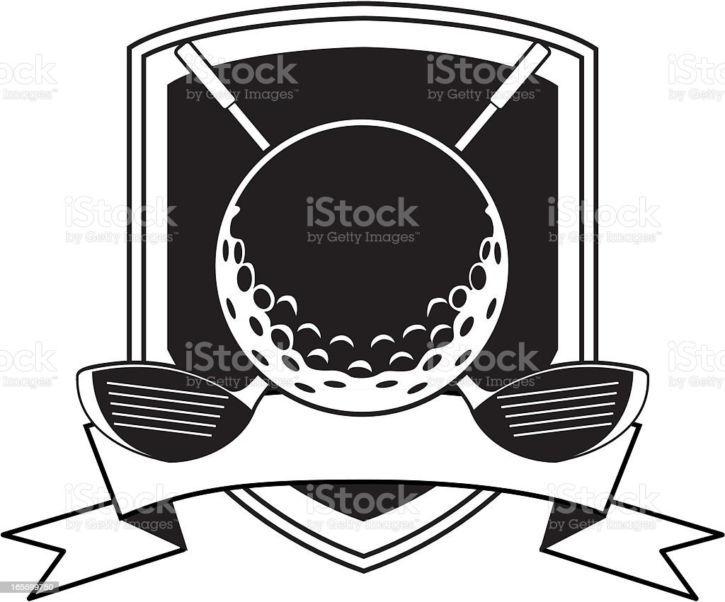 Black and white golf crest logo with ball and clubs royalty-free stock vector art