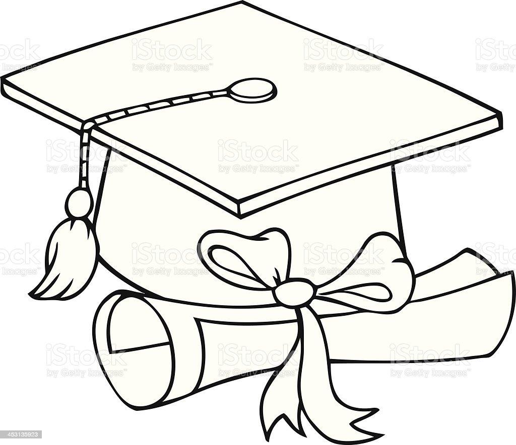 Bianco E Nero Cappello Di Laurea E Diploma Immagini Vettoriali