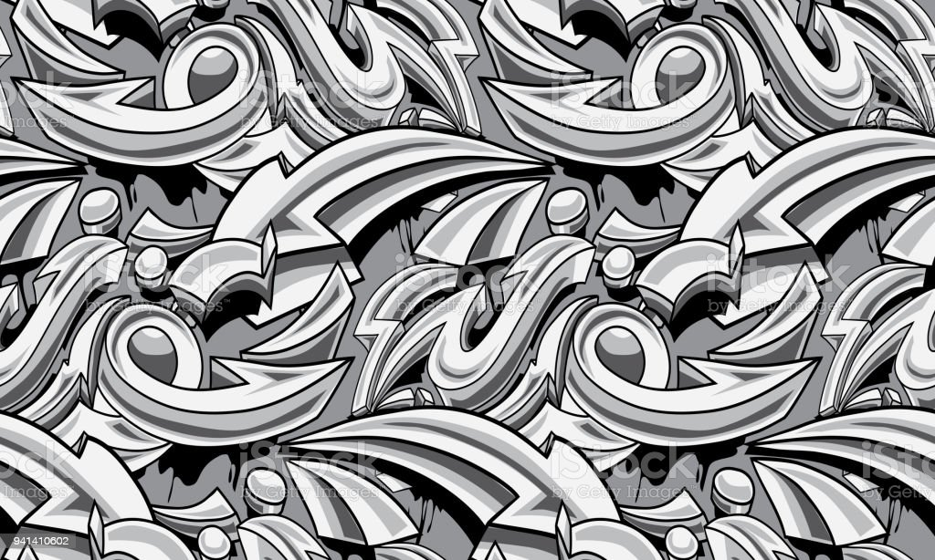 Black and white graffiti arrows seamless background vector art illustration