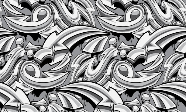 black and white graffiti arrows seamless background - graffiti backgrounds stock illustrations, clip art, cartoons, & icons