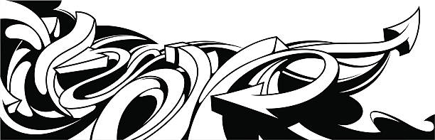 Black and white graffiti background vector art illustration