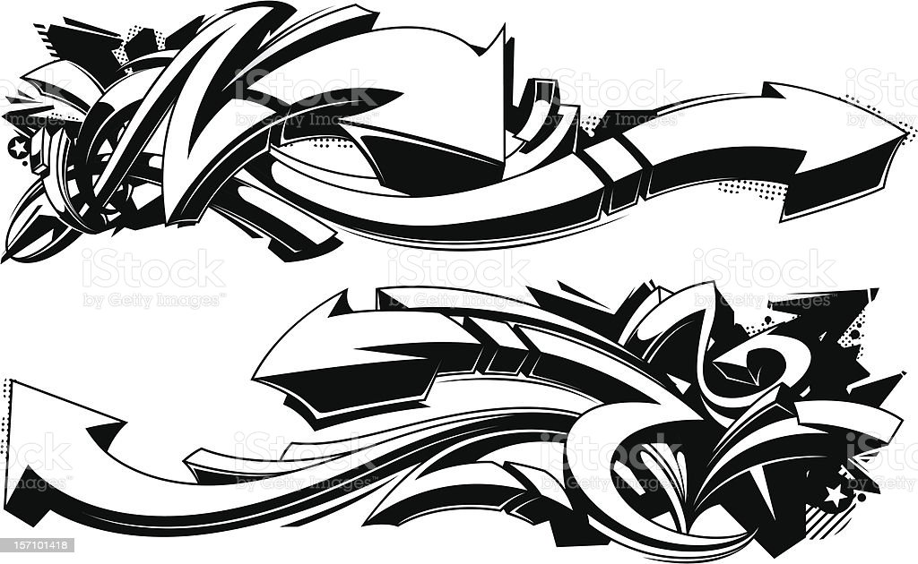 Black and white graffiti backgrounds vector art illustration
