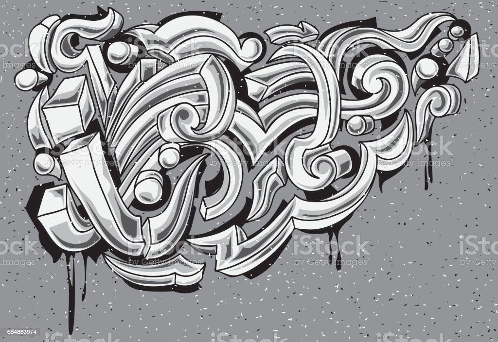 Black And White Graffiti locken Hintergrund Lizenzfreies black and white graffiti locken hintergrund stock vektor art und mehr bilder von abstrakt