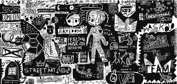 Black and white graffiti-style street art background An image that includes a plurality of symbols street art stock illustrations