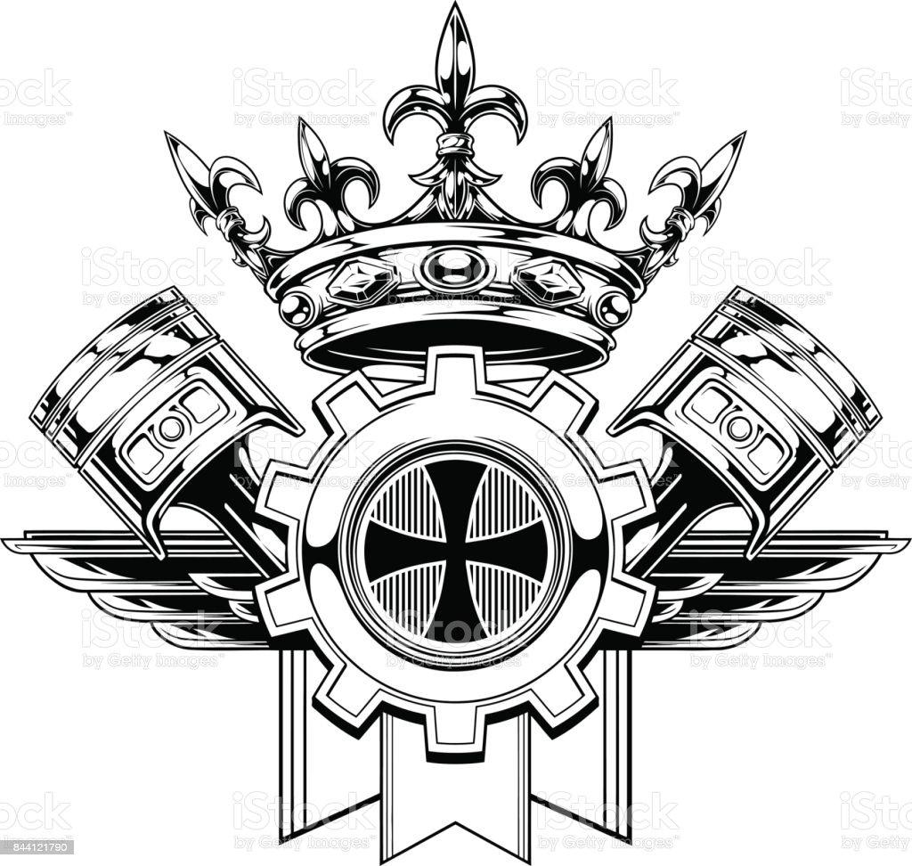 Schwarz / weiß Grafik Wappen mit Kolben – Vektorgrafik