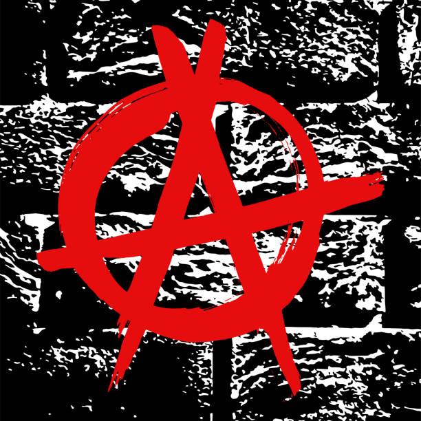 black and white grunge brick wand textur mit roter tinte hand gezeichnete symbol für anarchie. abstrakte vintage vektormuster. einfarbiger hintergrund mit lärm und getreide. banner-vorlage. - punk stock-grafiken, -clipart, -cartoons und -symbole