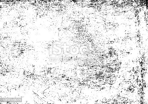 istock Black and white grunge urban texture vector with copy space. Abstract illustration surface dust and rough dirty wall background with empty template. Distress or dirt and damage effect concept - vector 1203109025