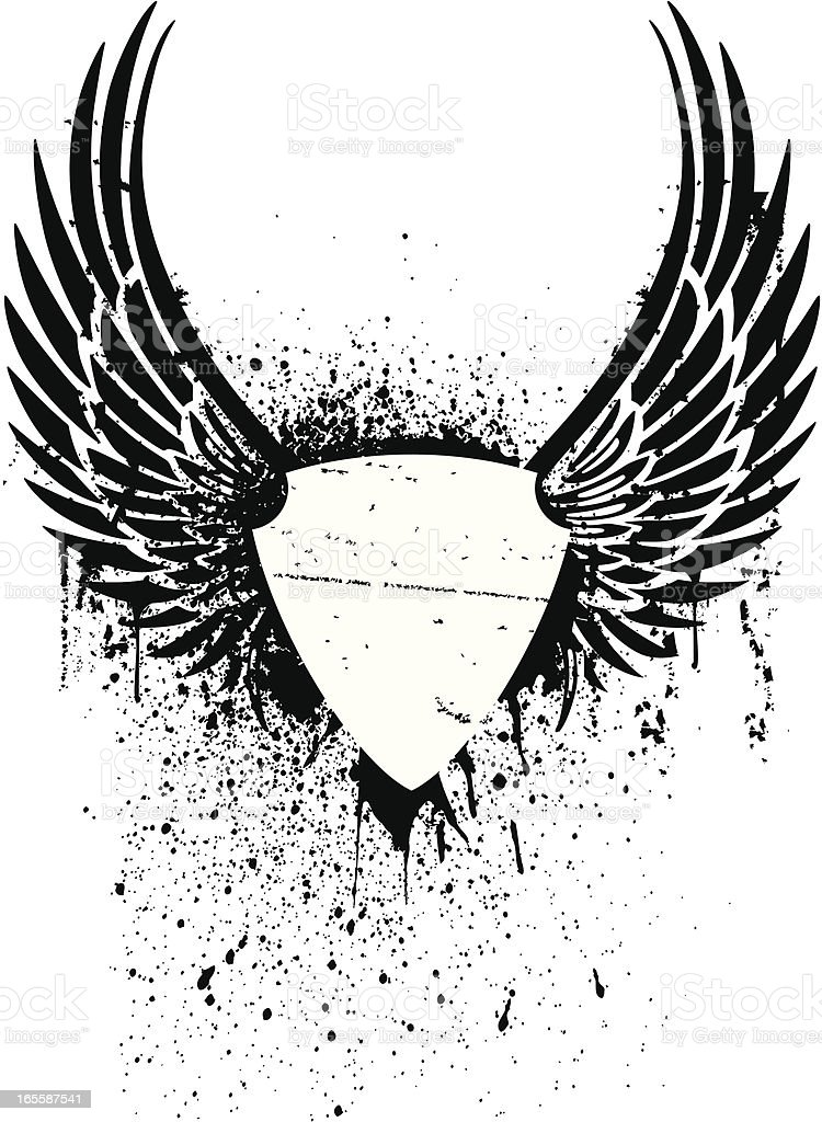 Black and white grunge winged shield stencil for a tattoo royalty-free stock vector art