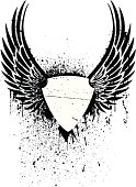 Black and white grunge winged shield stencil for a tattoo