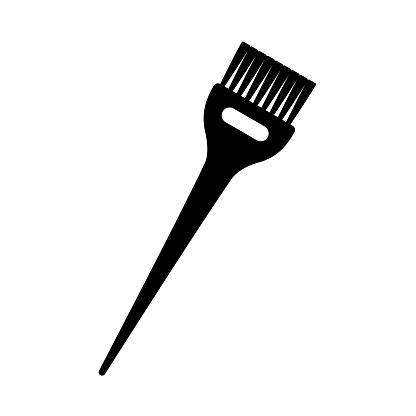 Black and white hair dye brush