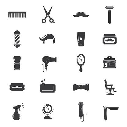 Black and white hair salon icons
