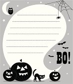 Grey, black and white Halloween invite with holiday pumpkins, cat, owl, cobwebs, spider and Bo! wording. A speech bubble with space for copy to be applied.