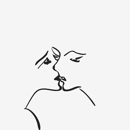 black and white hand draw style kiss pattern