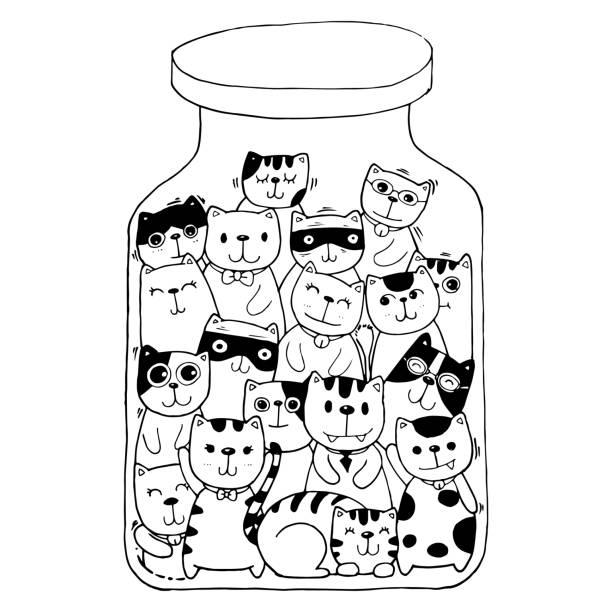 흑백 손 그리기 벡터, 고양이 캐릭터 세트 스타일 낙서 그림 그림 아이 벡터에 대 한 색칠. 벡터 아트 일러스트