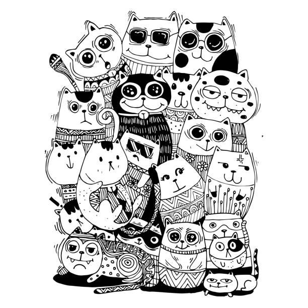 흑백 손 그리기 벡터, 고양이 캐릭터 스타일 낙서 그림 그림 아이 벡터에 대 한 색칠. 벡터 아트 일러스트
