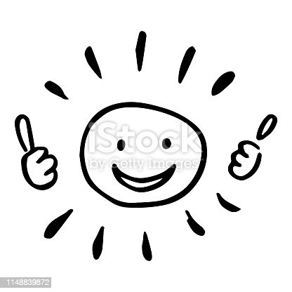 Creative vector hand drawn illustration of a sun with two thumbs up. Black and white image.