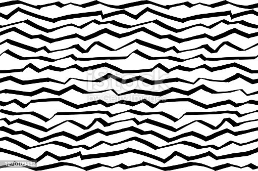 Black and white hand drawn abstract background with zigzag lines. Illustration of wave lines pattern. Wallpaper, wrapping, fabric, graphic design