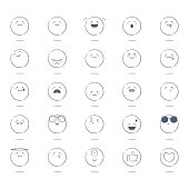 Vector illustration of a collection of black and white cute hand drawn emoticons. Like button and favorite button included.