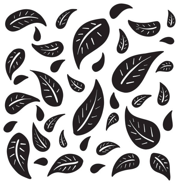 Black and White Hand Drawn Falling Leaves Cartoon vector art illustration