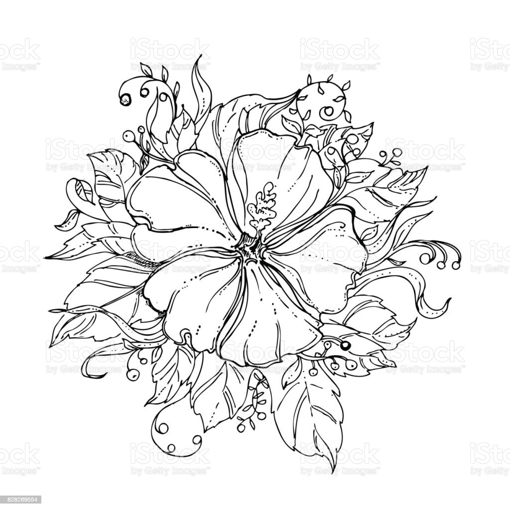 Black And White Hand Drawn Floral Ornament With Hibiscus Flower