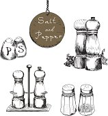 Black and white hand drawn salt and pepper shakers